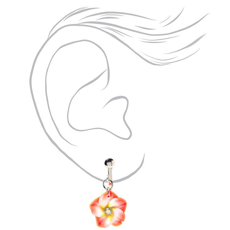 """Hibiscus 1"""" Clip On Drop Earrings - Orange,"""