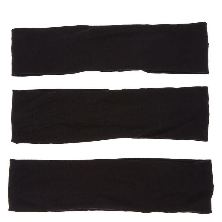 Bandeaux unis - Noir, lot de 3,