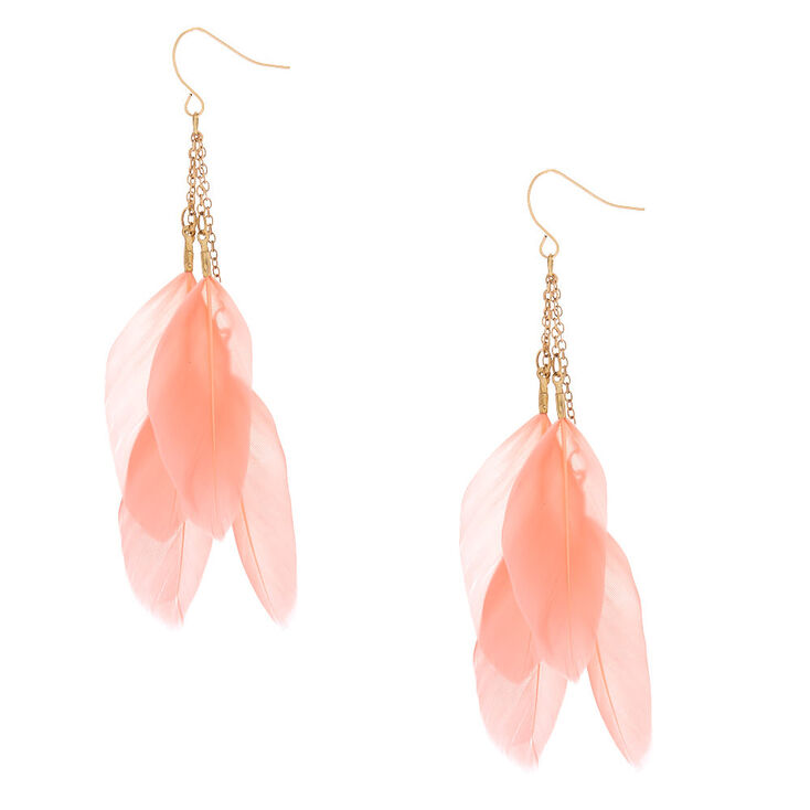 "Gold 3"" Feather Drop Earrings - Pink,"