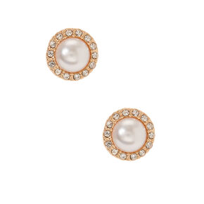Gold & Pearl Stud Earrings,