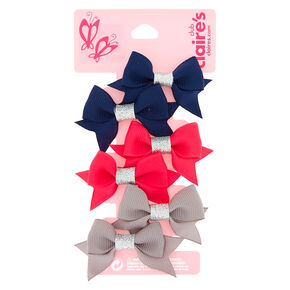 Claire's Club Glitter Bow Hair Clips - 6 Pack,