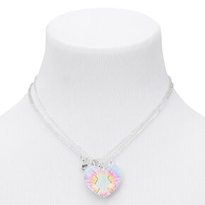 Best Friends Tie Dye Split Heart Pendant Necklaces - 3 Pack,