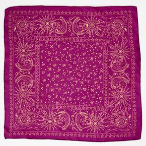Silky Celestial Bandana Headwrap - Magenta,