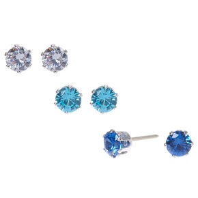 Silver Cubic Zirconia 5MM Round Stud Earrings - Blue, 3 Pack,