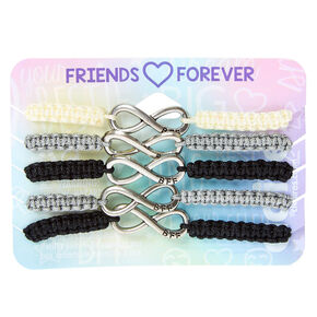 Gray Scale Infinity Adjustable Friendship Bracelets - 5 Pack,