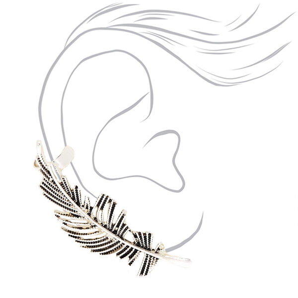Claire's - feather mismatched crawler earring set - 2