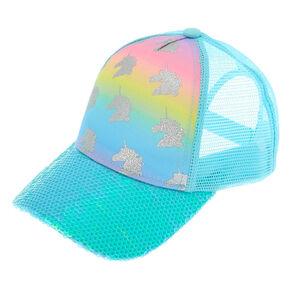 1aba3f13582be Unicorn Rainbow Print Baseball Cap - Turquoise