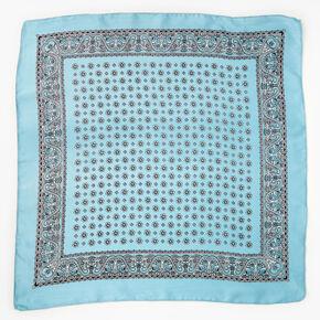 Floral Paisley Silky Bandana Headwrap - Sky Blue,