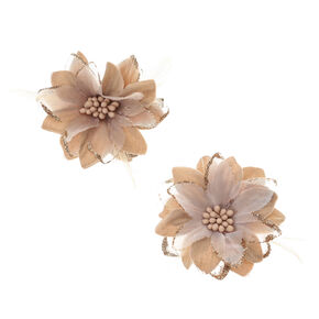 Lilly Flower Feather Hair Clips - Champagne Gold, 2 Pack,