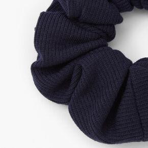 Medium Ribbed Hair Scrunchie - Navy,
