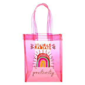 Radiate Positivity Rainbow Transparent Reusable Tote Bag - Pink,