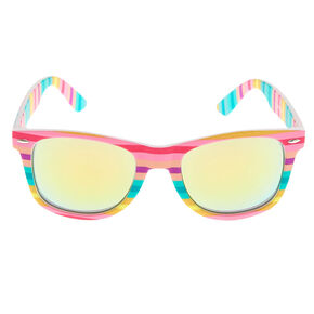 Pastel Striped Retro Frame Sunglasses,