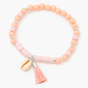 Cowrie Shell Beaded Stretch Bracelet - Coral Pink,