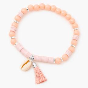 Bracelet élastique perlé coquillages cauris - Rose corail,