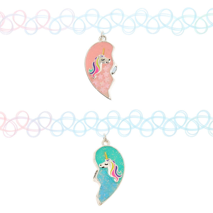 Best Friends Pastel Unicorn Heart Tattoo Choker Necklaces - 2 Pack,