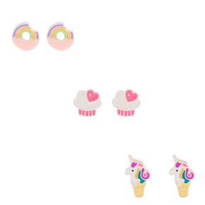 Unicorn Sweet Treat Stud Earrings - 3 Pack,
