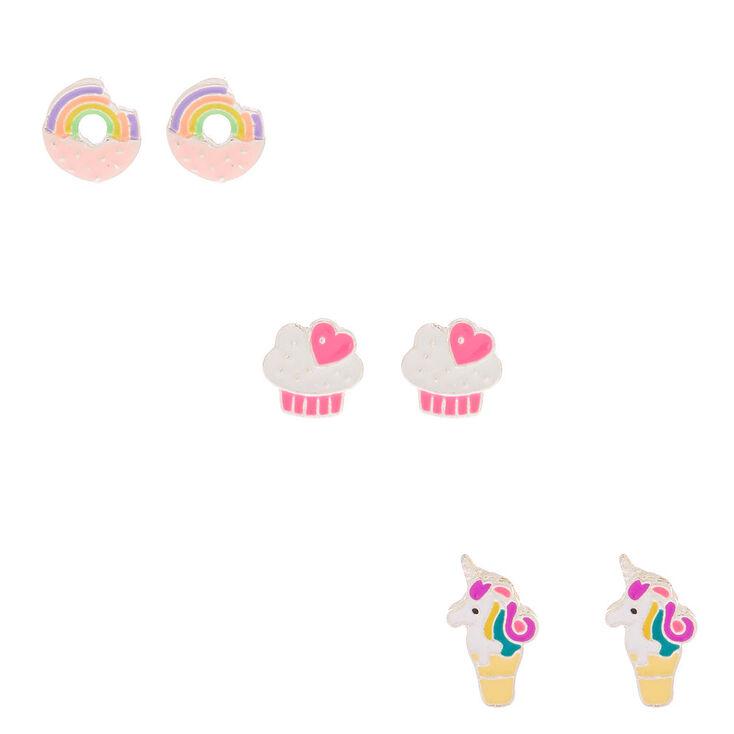 Unicorn Sweet Treat Stud Earrings - 3 Pack,