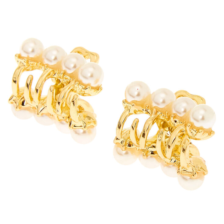 Gold Vintage Pearl Mini Hair Claws - 2 Pack,