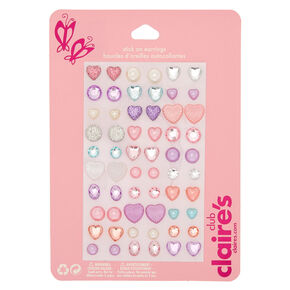 Claire's Club Pastel Heart Stick On Earrings - 30 Pack,