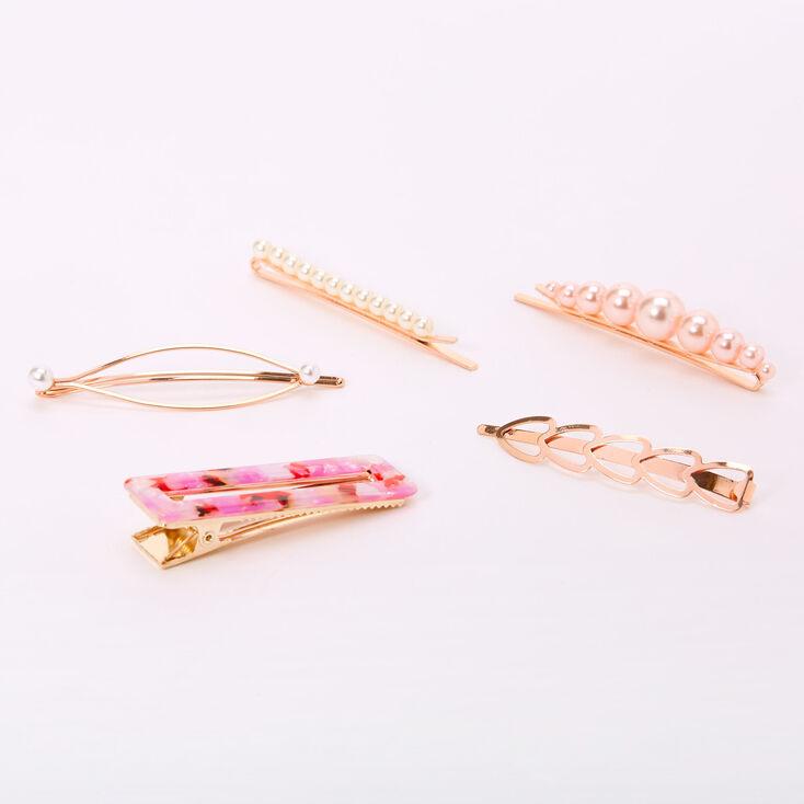 Rose Gold Pearl Tortoiseshell Geometric Hair Pins - Pink, 6 Pack,