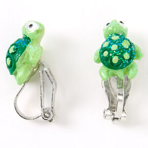 Silver Glitter Turtle Clip On Stud Earrings - Green,