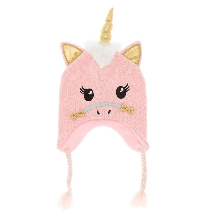 Claire s Club Ariella the Unicorn Winter Hat - Pink  4b35baed798