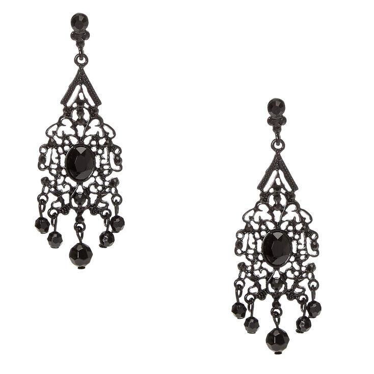 Jet Black Vintage Filigree Beaded Drop Earrings