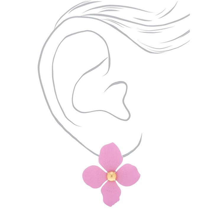 """Gold 2"""" Flower Drop Earrings - Lavender,"""