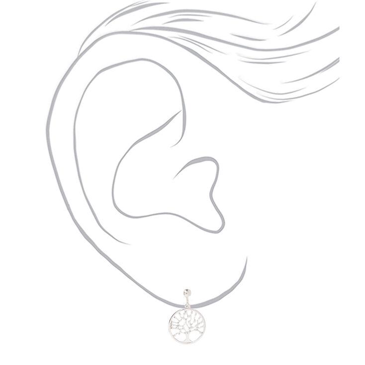 "Silver 1"" Tree of Life Clip On Drop Earrings,"