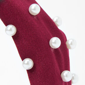Pearl Knotted Headband - Burgundy,