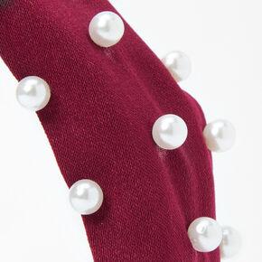 Serre-tête noué avec perles d'imitation - Bordeaux,