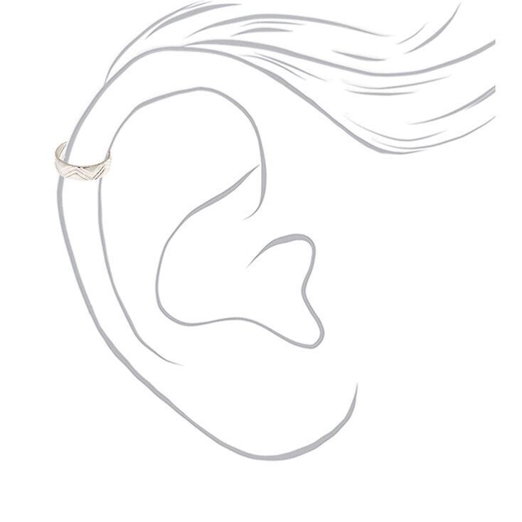 Silver Zig Zag Print Ear Cuff,