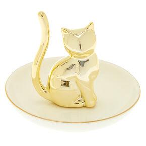 Ceramic Cat Jewelry Holder Tray - White,