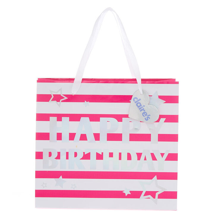 Pink And White Striped Happy Birthday Medium Gift Bag