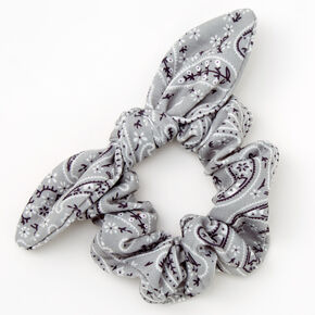 Small Bandana Knotted Bow Hair Scrunchie - Sage,