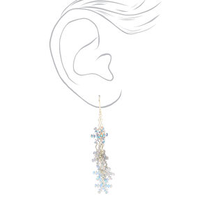 "Silver 2"" Iridescent Snowflake Drop Earrings,"