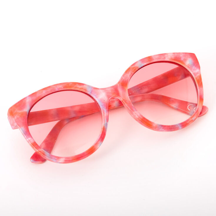 Tie Dye Rounded Mod Sunglasses - Coral,