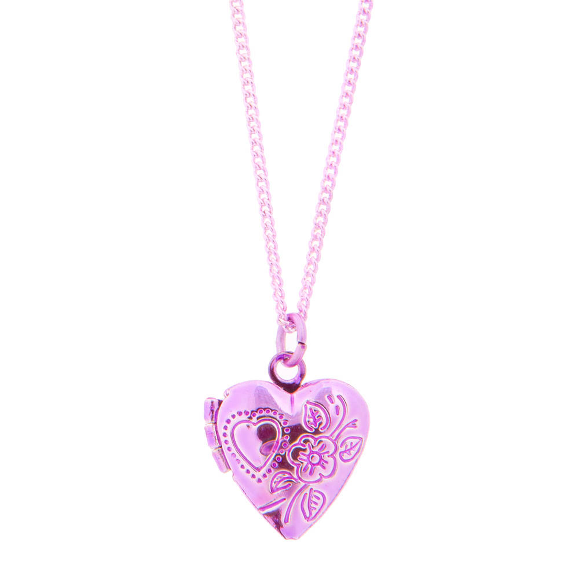 Kids pink heart locket pendant necklace claires us kids pink heart locket pendant necklace aloadofball Image collections