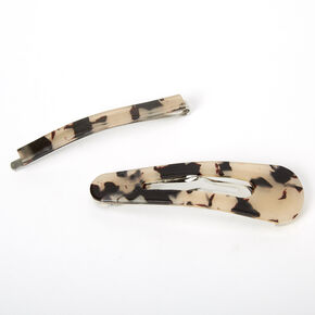 Tortoiseshell Resin Hair Pin & Snap Clip - Natural, 2 Pack,