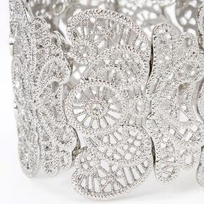 Méga bracelet élastique motif filigrane couleur argentée,