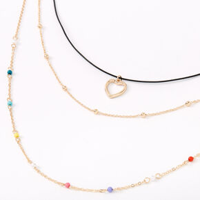 Gold Rainbow Heart Multi Strand Cord Choker Necklace,
