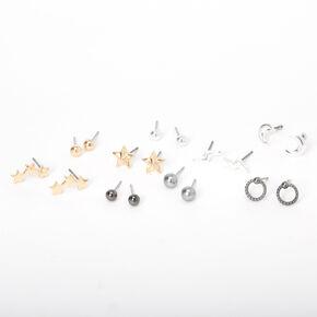 Mixed Metal Star Moon Lightning Stud Earrings - 9 Pack,