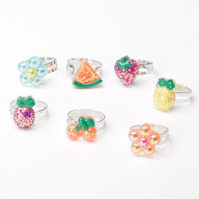 Claire's Club Fruit & Flower Rings - 7 Pack,