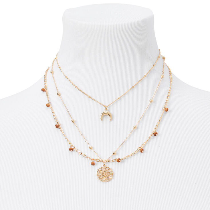 Gold Wooden Horn Multi Strand Chain Necklace Set - Brown, 2 Pack,