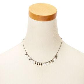 Collier volumineux avec mini croix couleur hématite,