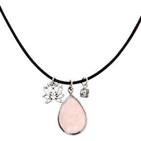 Rose Quartz Teardrop Pendant Necklace,