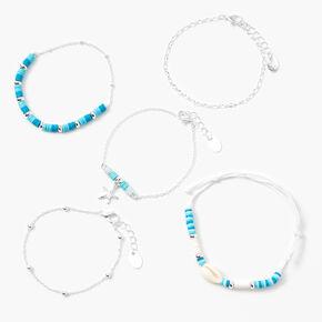Silver Disc Seashell Chain Bracelets - Blue, 5 Pack,