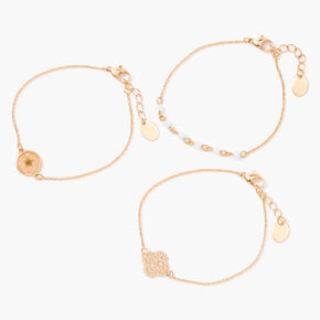 Bracelets de chaîne en filigrane fleurs séchées couleur dorée - Lot de 3,