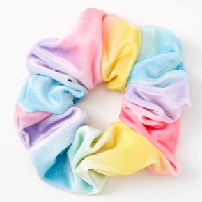 Medium Rainbow Flat Velvet Hair Scrunchie,