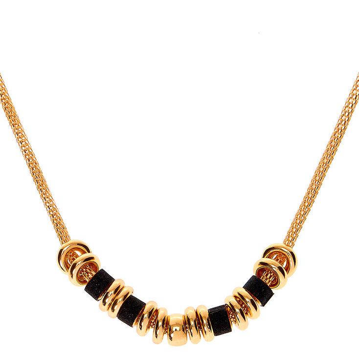 Collier de caractère anneaux paillettes dorées - Noir,